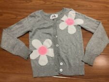 Justice Girls Knit Jacket Silver Color With Flowers Design Size 7