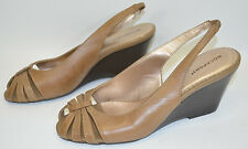 "Rockport Wedge Slingback Light Brown Strap Shoes  3"" Heels Women's 7W"