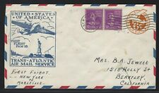 1939 FAM 18 First Flight Cover - #UC3 + #817 x 2 – NY to Marseille