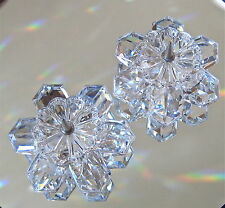 Swarovski Crystal Retired Vintage Snowflake Candleholders Set of 2, Signed