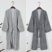Mens Kimono Yukata Pajamas Cotton Soft Japanese Bathrobe Robe Gown Nightwear