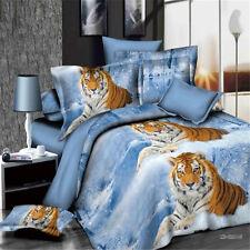 Blue Tiger Queen Bed Quilt/Doona/Duvet Cover Set New Pillow Cases Bedding Sets