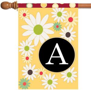 Toland Floral Monogram 28 x 40 Spring Summer Flower Initial House Flag