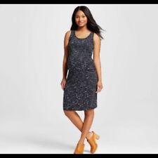 Liz Lange Maternity Target Sleeveless BLACK EBONY SpaceDye TANK Dress Size S NEW