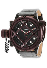 New Mens Invicta 16363 Russian Diver Mechanical Black Dial Grey Leather Watch