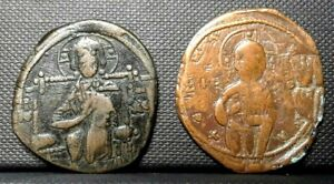 Lot 2 Coins Jesus Christ ancient byzantine Copper coins