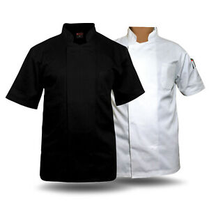 Black / white coat Chef Apparel Unisex Short Sleeve Chef Jacket stub button