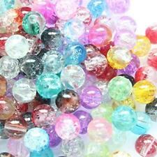 500 BULK Glass Beads Assorted Mix 8mm Crackle Beads Lot Wholesale Set