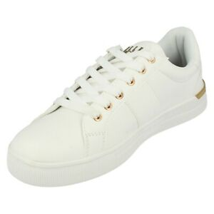 Ladies Elle Sport White Lace Up Trainers : F7188