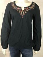 DKNY Jeans Boho Top Shirt SIze M Dark Blue Floral Embroidered Boho Hippie Style