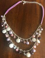 Vintage Signed Avon SH Faux Pearl AB Violet Pink Bead Two Strand Necklace