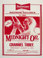 MIDNIGHT OIL/CHANNEL THREE LOS ANGELES 1985 CONCERT TOUR POSTER -Garrett Singing