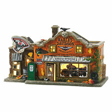 D56 Harley-Davidson Last Chance Garage NEW Snow Village Halloween 4051011 Lit