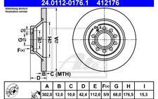 ATE Juego de 2 discos freno Trasero 302mm para AUDI A6 24.0112-0176.1