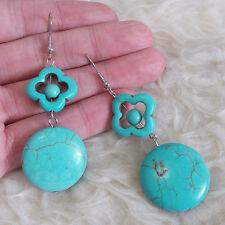 Fashion Womens Blue Hollow Flowers Plastic Beads Dangle Fall Drop Hook Earrings