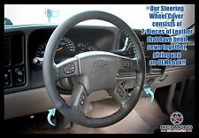 2005 2006 2007 GMC Sierra 2500HD SLT SLE -Black Leather Steering Wheel Cover