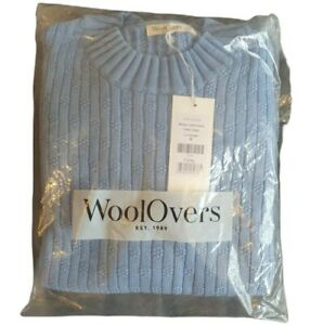 woolovers womens cotton kimono sleeve jumper brand new tags sealed blue size m