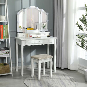 5 Drawer Vanity Makeup Table & Light Lamp Dressing Wood Desk Set with Stool
