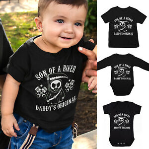 Boys Son of a BIKER T-Shirt or Baby Grow - Motorbike Dad Gift Motorcycle Daddy