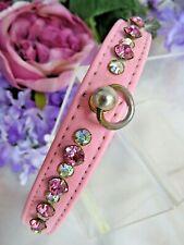 "Vintage crystal Rhinestone Dog Collar pink Leather 5/8"" wide fit 11 1/4-12 3/4"