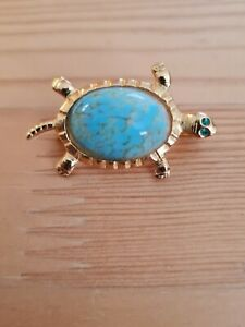 Turquoise coloured Tortoise Brooch