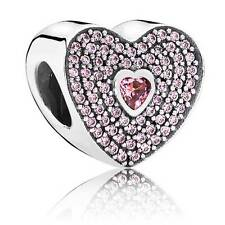 SWEETHEART Fancy Pink CZ Pandora Charm, Stirling Silver 791555CZS genuine S925