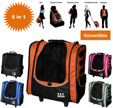 Pet Dog Carrier W Wheels Backpack Car Seat Tote 5 in 1 Convertible PICK COLOR