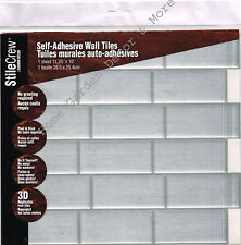 Peel Stick Wall Tile Kitchen Bathroom Backsplash Sticker Sheet Gray SUBWAY Brick