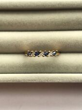 Ivy Gems 9ct Yellow Gold Blue Sapphire & Diamond Half Eternity Ring Size R