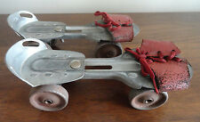 Vintage 1950's Children's  Metal & Red Leather Toy Rollerskates