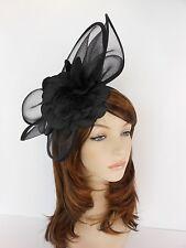 New Church Derby Wedding  Poly Fascinator Dress Hat w Headband FS-06 Black