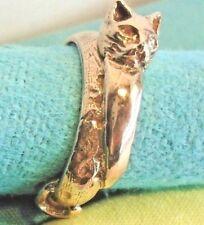 Handcrafted Old Stock Kitten Catt Silver 925 VERMEIL Rose Gold Ring skaisAPRt18