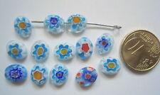 Perlas ovales cristal milflores 10 x 8 mm X 13 UNIDADES gama azul abalorios