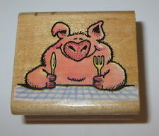 Pig Out Rubber Stamp Piggy Table Fork Knife Retired All Night Media Wood Mounted
