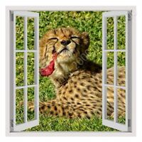 Cheetah On The Grass by Fake 3D Window | Ready to Hang Canvas | Wall art paint