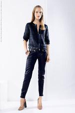 Escada Woven Leather Jacket in Navy,Sz:36 Retail $ 3,695 NEW