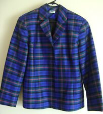 MOTTO Blue Check SILK Fitted Jacket Size14 Plaid Tartan Button Front HARDLY WORN