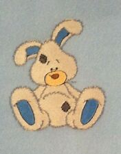 Baby's Fleece Cot Blanket - Bunny - personalised with baby's name - BLUE