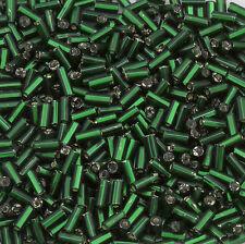Vintage Czech Bugle Beads Straight 4mm Silver Lined Dark Green 15g 10402024