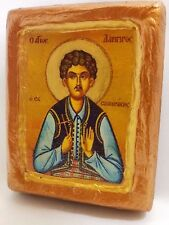 Saint Lambros of Samothrace Wooden Icon  Religious Art