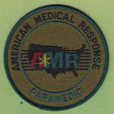 AMR AMERICAN MEDICAL RESPONSE PARAMEDIC SHOULDER PATCH.  (Subdued - Green)