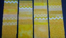 """40 yellow 4"""" x 4"""" fabric squares 4 squares from 10 different prints"""
