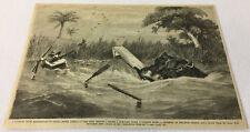 1876 magazine engraving ~ Hippopotamus, Destroying Boat