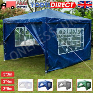 Heavy 3x3m Garden Gazebo Marquee Party Tent Wedding Canopy 4 Sides Pavilion UK