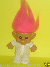 TROLL TOY: VINTAGE& COLLECTIBLE  TROLL DOLL - Pink HAIR DOTTED CLOTHES