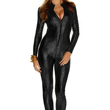 Women's Shiny Catsuit Snakeskin Pattern Unitard Faux Leather Jumpsuit Catwoman