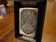 HARLEY DAVIDSON LOGO AND FLAMES STREET CHROME ZIPPO LIGHTER MINT IN BOX