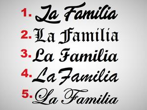 LA FAMILIA Familie   Aufkleber 60cm Heckscheiben Frontscheiben Auto Wandtattoo