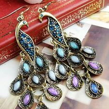Colorful Peacock Earrings Blue Rhinestone Phoenix Dangle Eardrop Bohemian Style