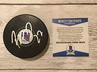 Ryan McDonagh Signed Autographed NY Rangers Hockey Puck Beckett BAS COA a